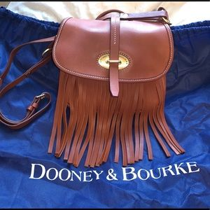 Dooney Bourke Fringe Lulu Fiona Brown Leather Bag
